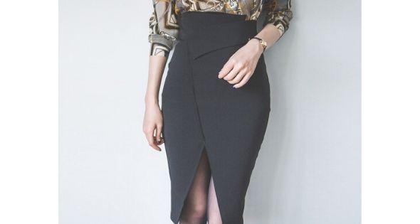 Falda negra elegante