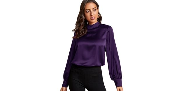 Blusa satinada purpura